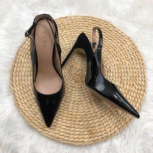 Zara Trafaluc size 9 black sling back heels